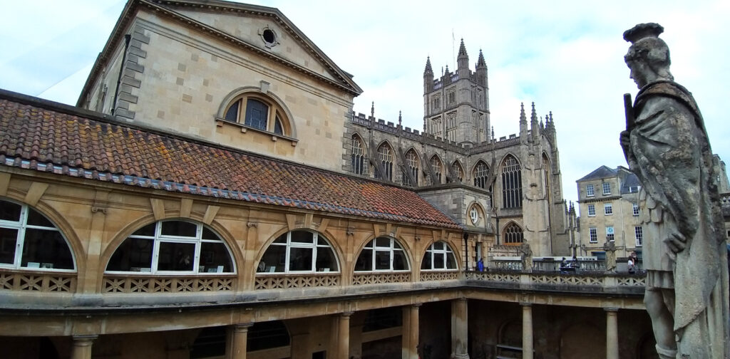 Views of the Roman Baths and Bath Abbey, Somerset